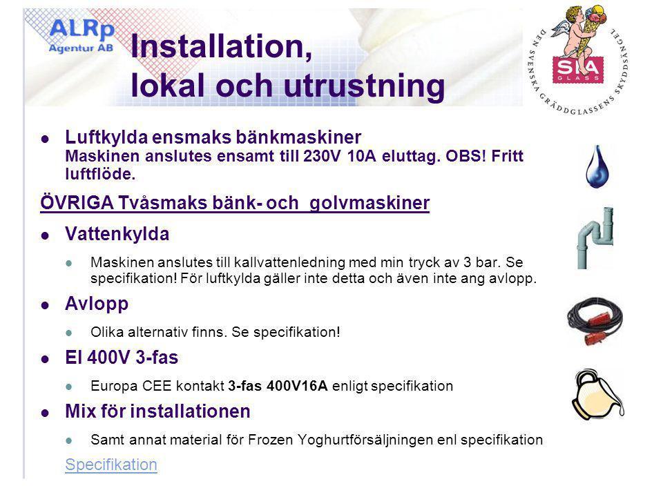 Installation, lokal och utrustning