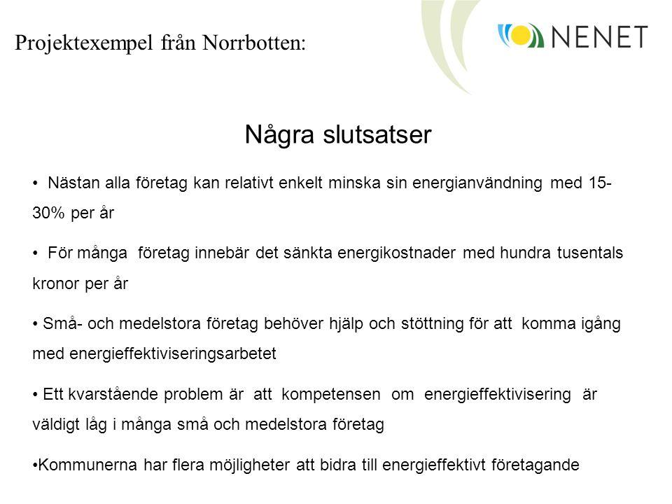 Några slutsatser Projektexempel från Norrbotten: