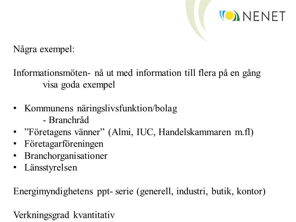 Några exempel: Informationsmöten- nå ut med information till flera på en gång. visa goda exempel. Kommunens näringslivsfunktion/bolag.