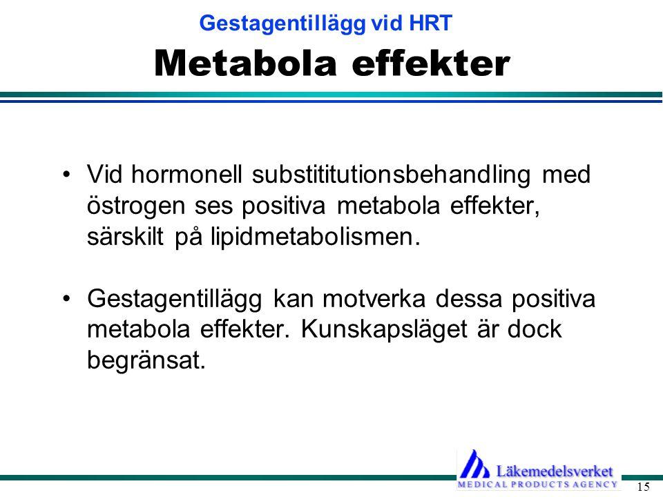 Metabola effekter Vid hormonell substititutionsbehandling med östrogen ses positiva metabola effekter, särskilt på lipidmetabolismen.