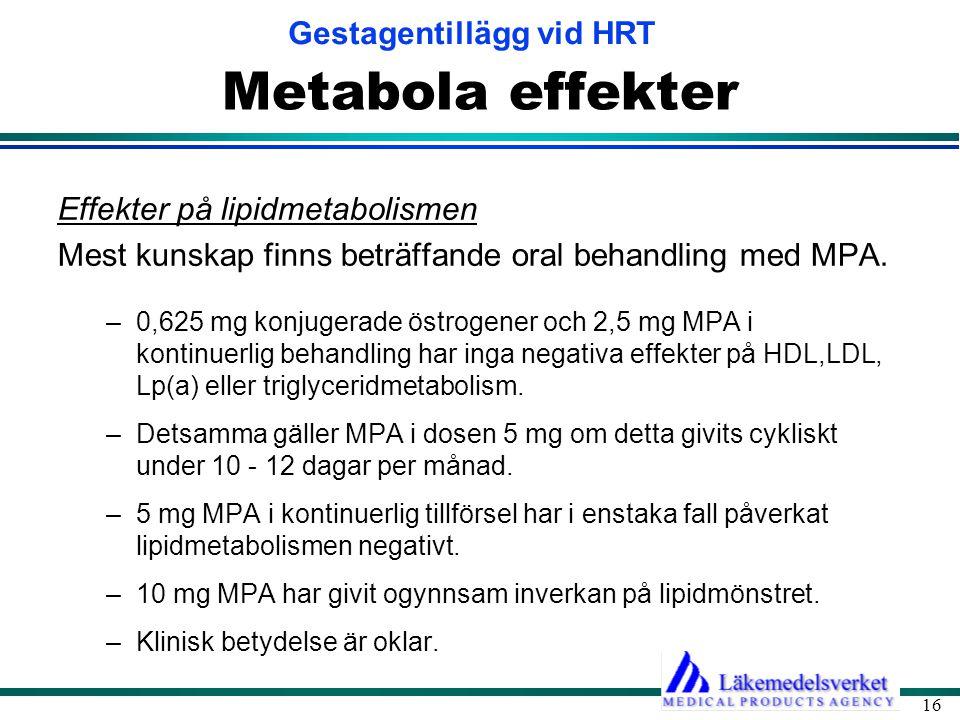 Metabola effekter Effekter på lipidmetabolismen