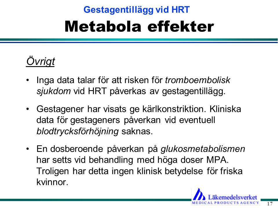 Metabola effekter Övrigt