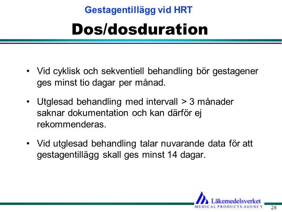 Dos/dosduration Vid cyklisk och sekventiell behandling bör gestagener ges minst tio dagar per månad.
