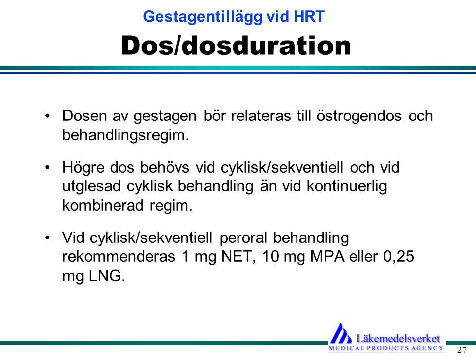 Dos/dosduration Dosen av gestagen bör relateras till östrogendos och behandlingsregim.