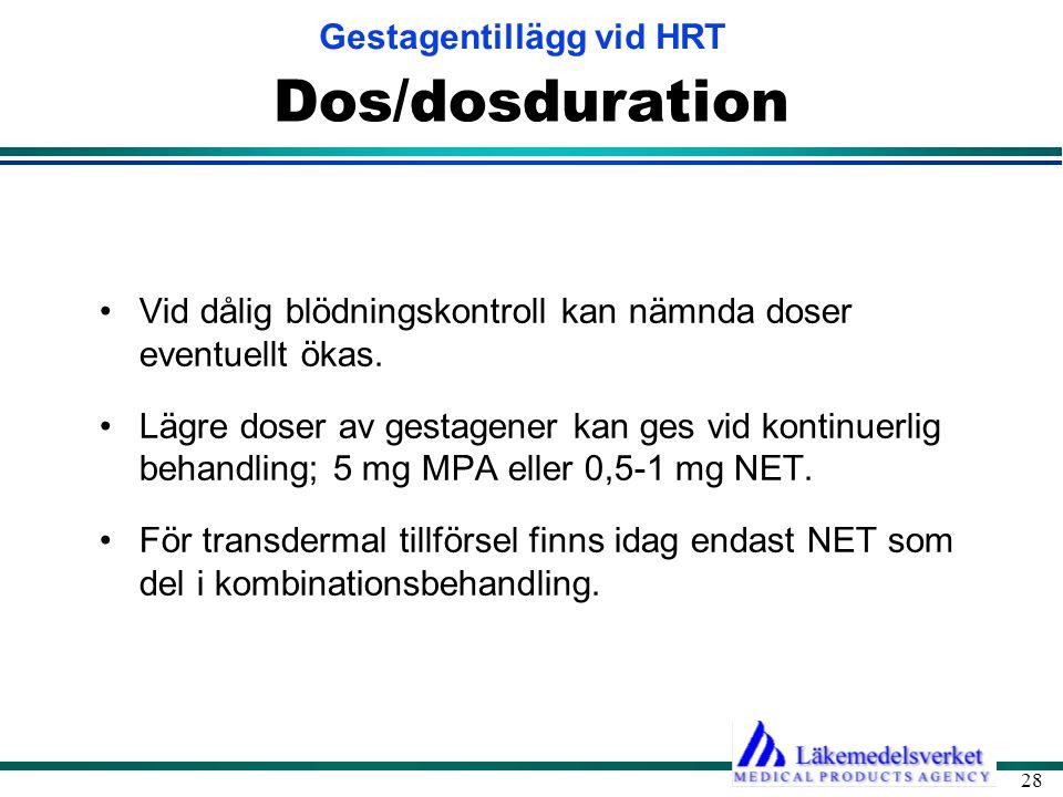 Dos/dosduration Vid dålig blödningskontroll kan nämnda doser eventuellt ökas.