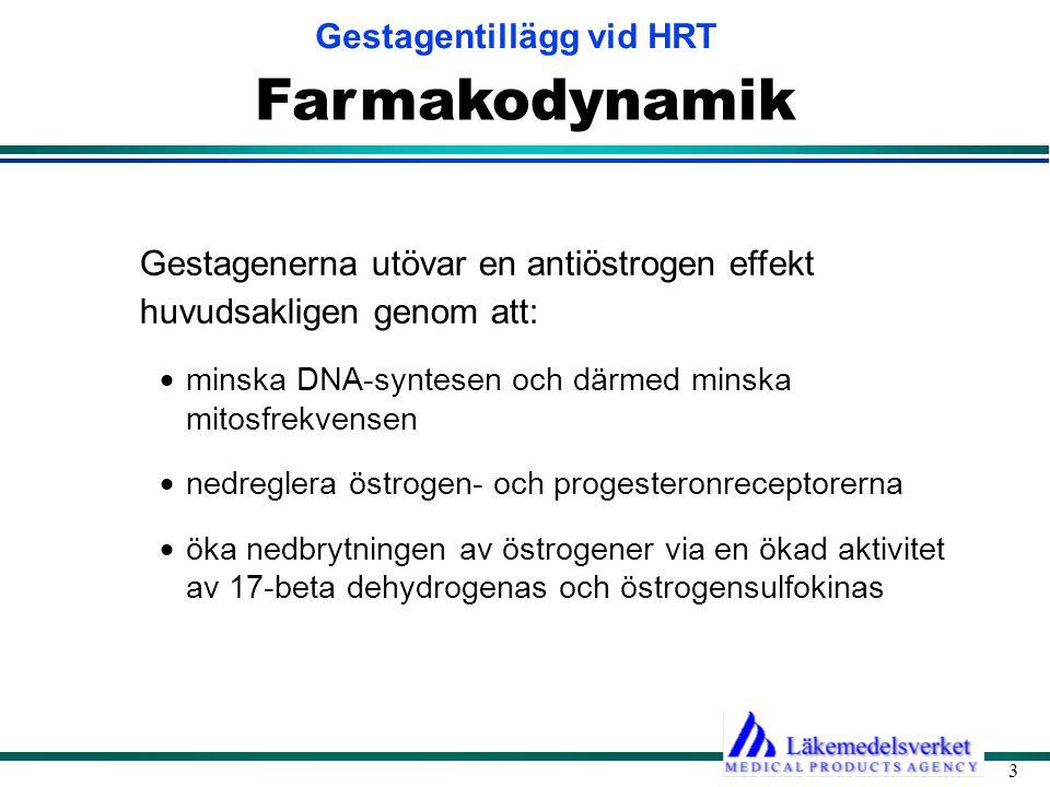 Farmakodynamik Gestagenerna utövar en antiöstrogen effekt huvudsakligen genom att: minska DNA-syntesen och därmed minska mitosfrekvensen.