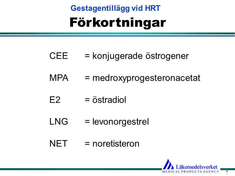 Förkortningar CEE = konjugerade östrogener