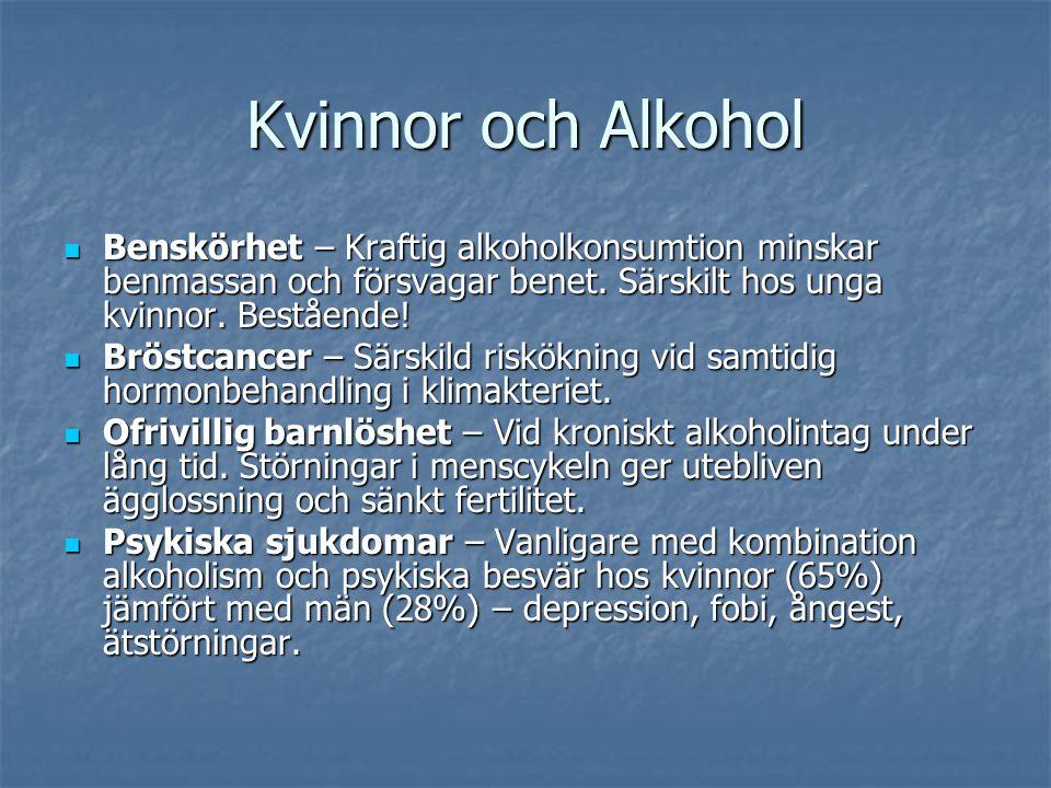 Kvinnor och Alkohol Benskörhet – Kraftig alkoholkonsumtion minskar benmassan och försvagar benet. Särskilt hos unga kvinnor. Bestående!