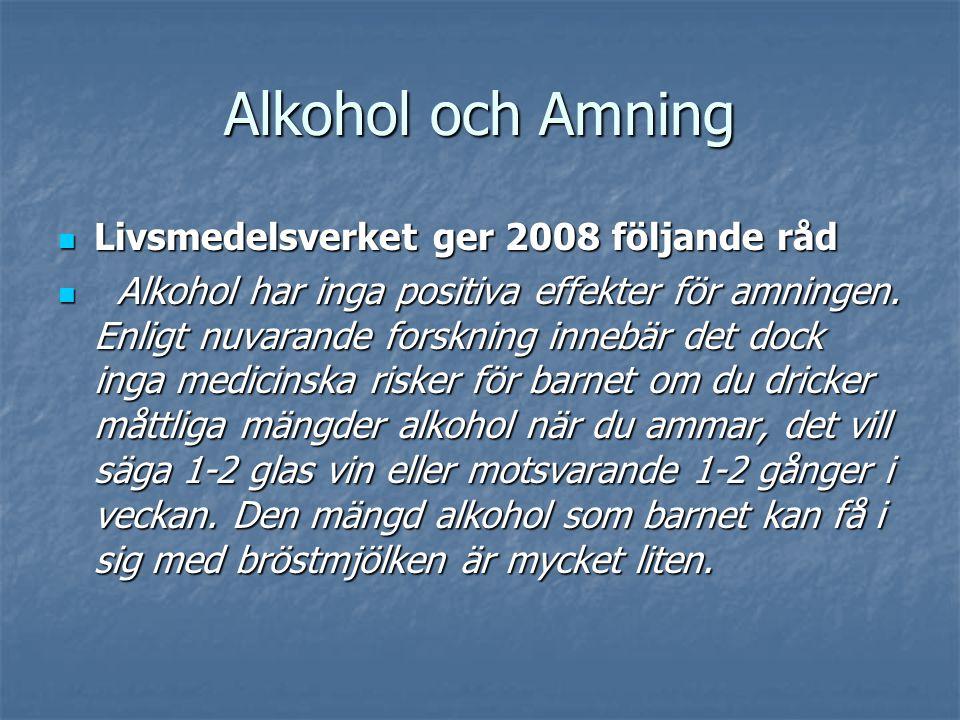 Alkohol och Amning Livsmedelsverket ger 2008 följande råd