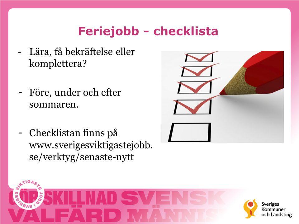 Feriejobb - checklista