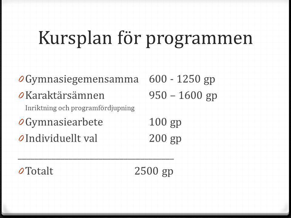 Kursplan för programmen
