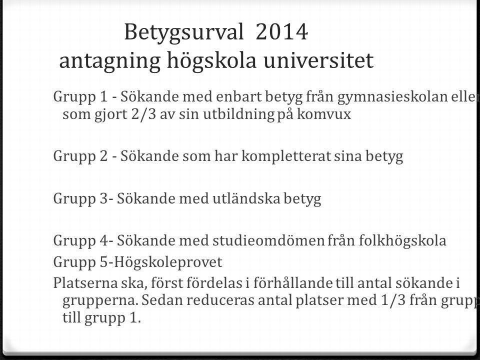Betygsurval 2014 antagning högskola universitet