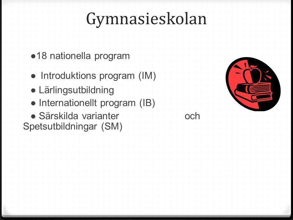 Gymnasieskolan ● Introduktions program (IM) ●18 nationella program