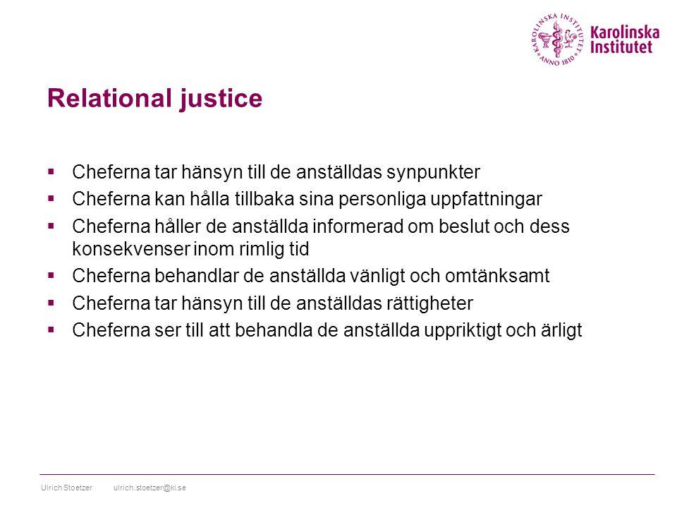 Relational justice Cheferna tar hänsyn till de anställdas synpunkter