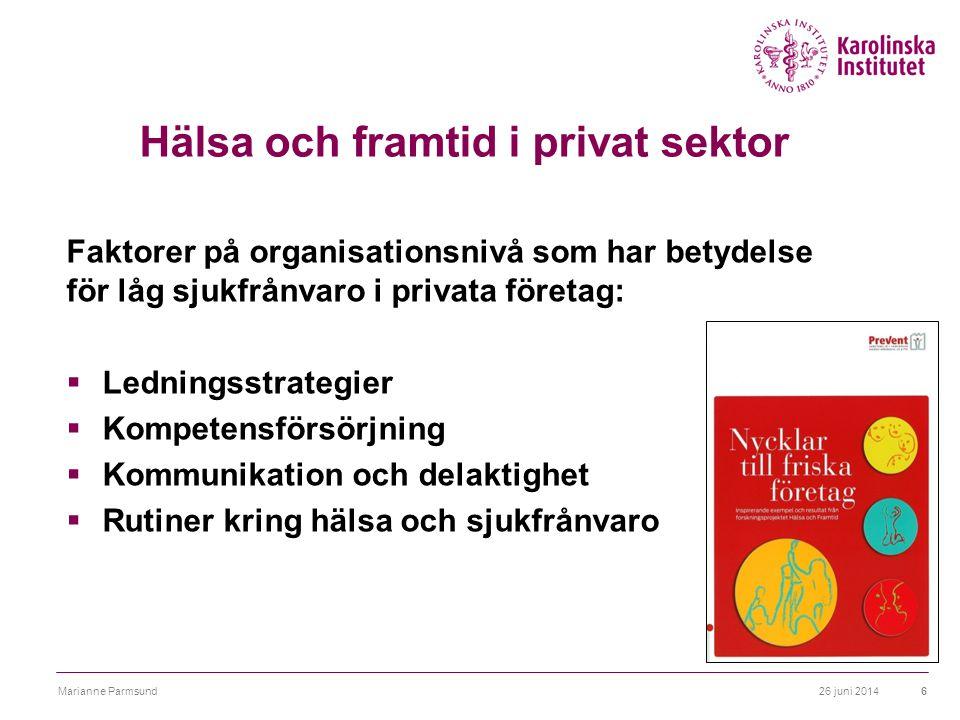Hälsa och framtid i privat sektor