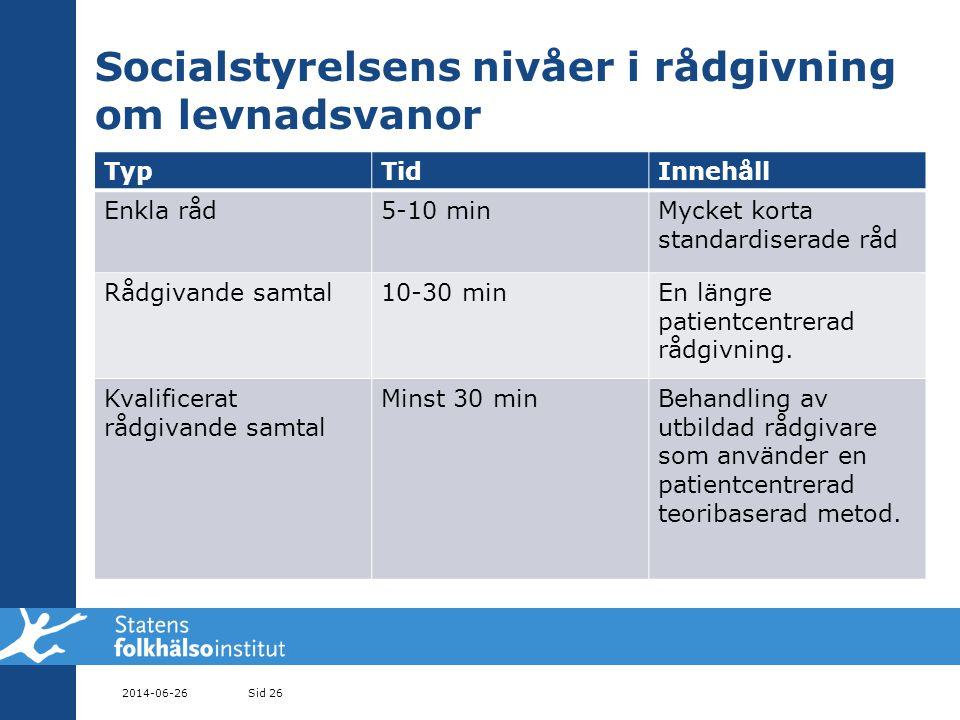 Socialstyrelsens nivåer i rådgivning om levnadsvanor