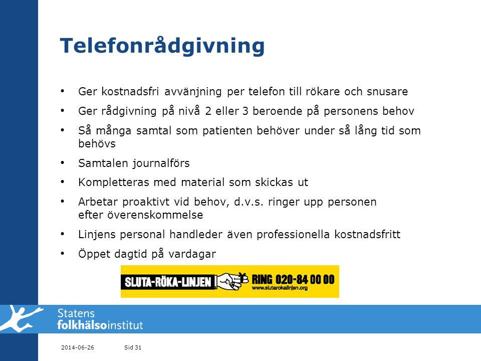 Telefonrådgivning Ger kostnadsfri avvänjning per telefon till rökare och snusare. Ger rådgivning på nivå 2 eller 3 beroende på personens behov.