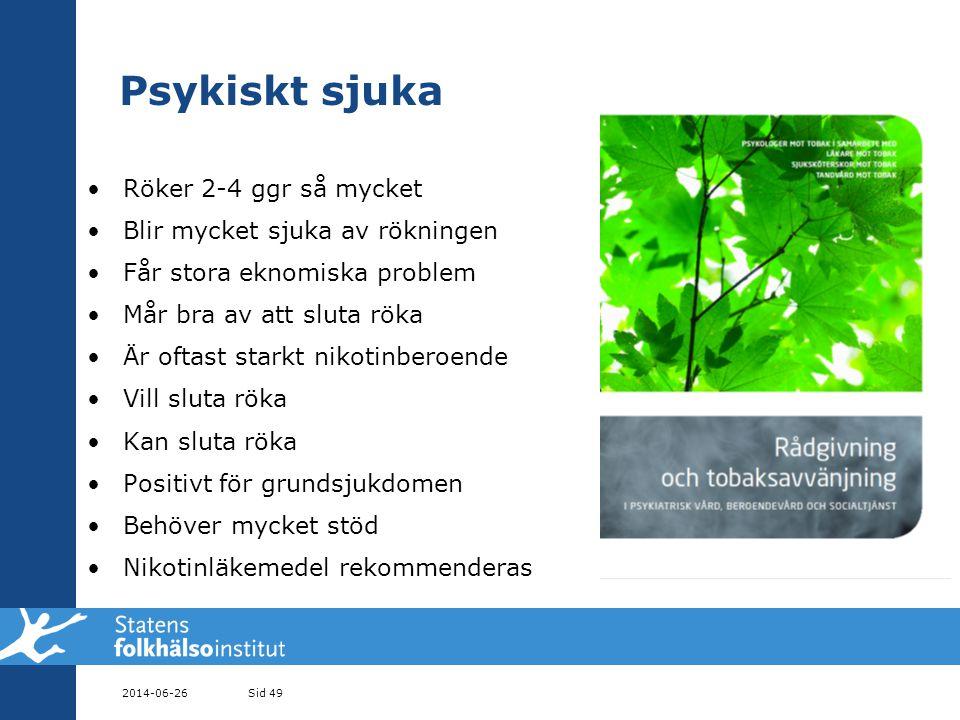 Psykiskt sjuka Röker 2-4 ggr så mycket Blir mycket sjuka av rökningen