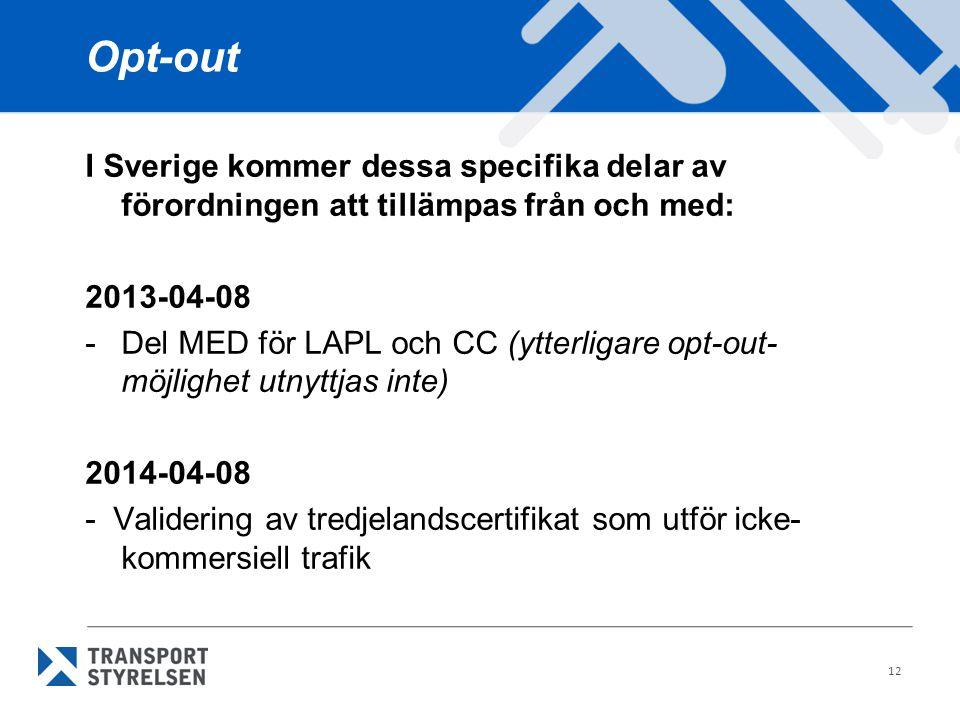 Opt-out I Sverige kommer dessa specifika delar av förordningen att tillämpas från och med: 2013-04-08.