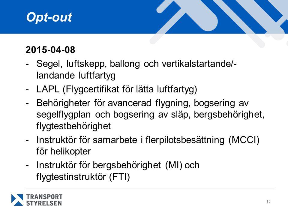 Opt-out 2015-04-08. - Segel, luftskepp, ballong och vertikalstartande/-landande luftfartyg. - LAPL (Flygcertifikat för lätta luftfartyg)