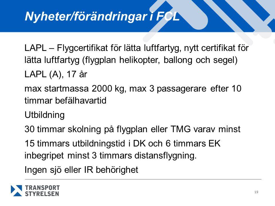 Nyheter/förändringar i FCL