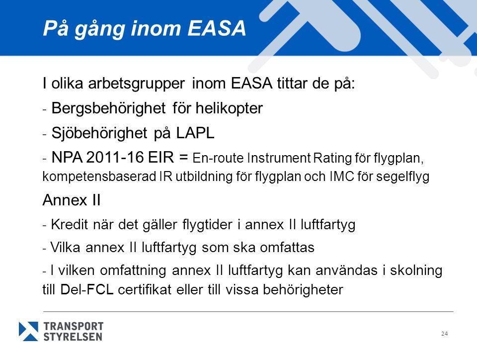 På gång inom EASA I olika arbetsgrupper inom EASA tittar de på: