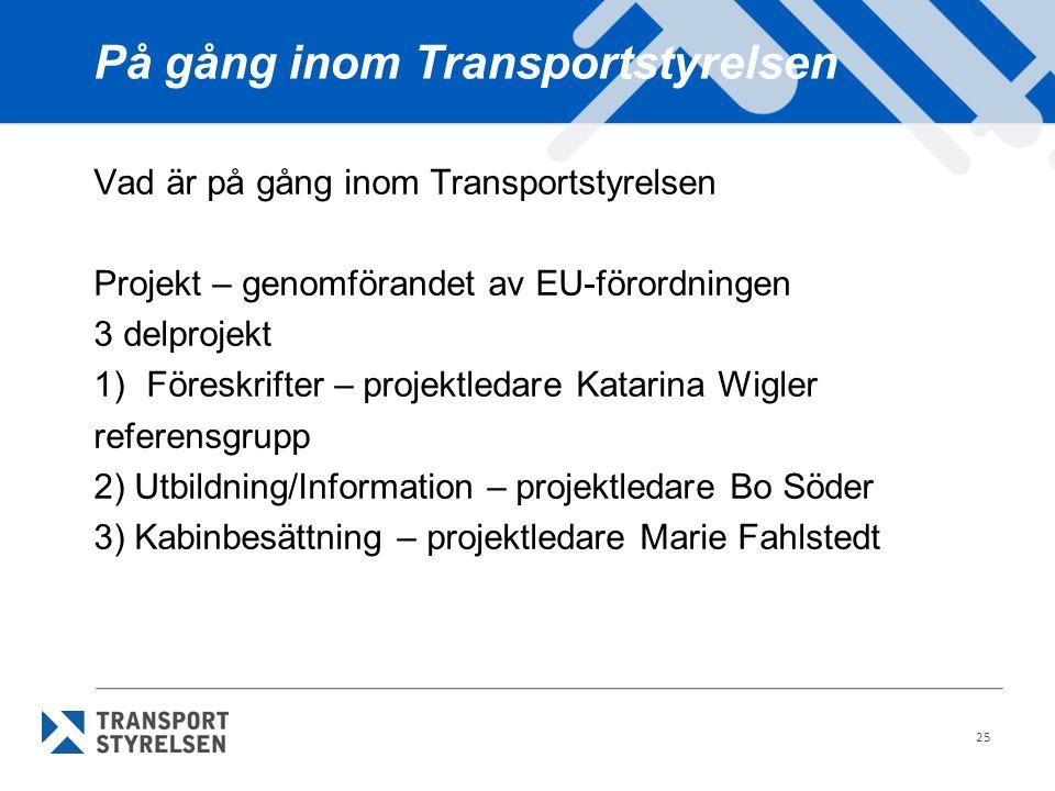 På gång inom Transportstyrelsen