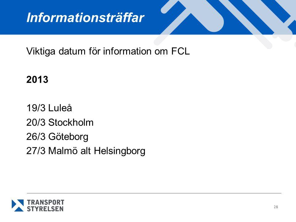 Informationsträffar Viktiga datum för information om FCL 2013 19/3 Luleå 20/3 Stockholm 26/3 Göteborg 27/3 Malmö alt Helsingborg