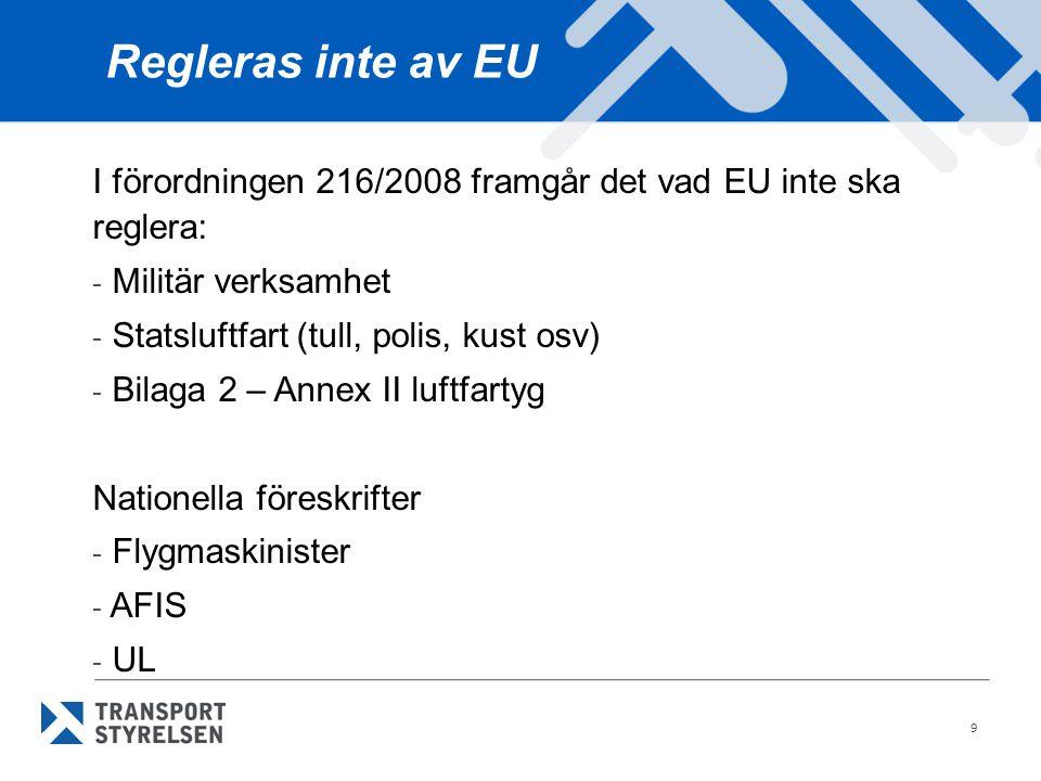 Regleras inte av EU I förordningen 216/2008 framgår det vad EU inte ska reglera: Militär verksamhet.