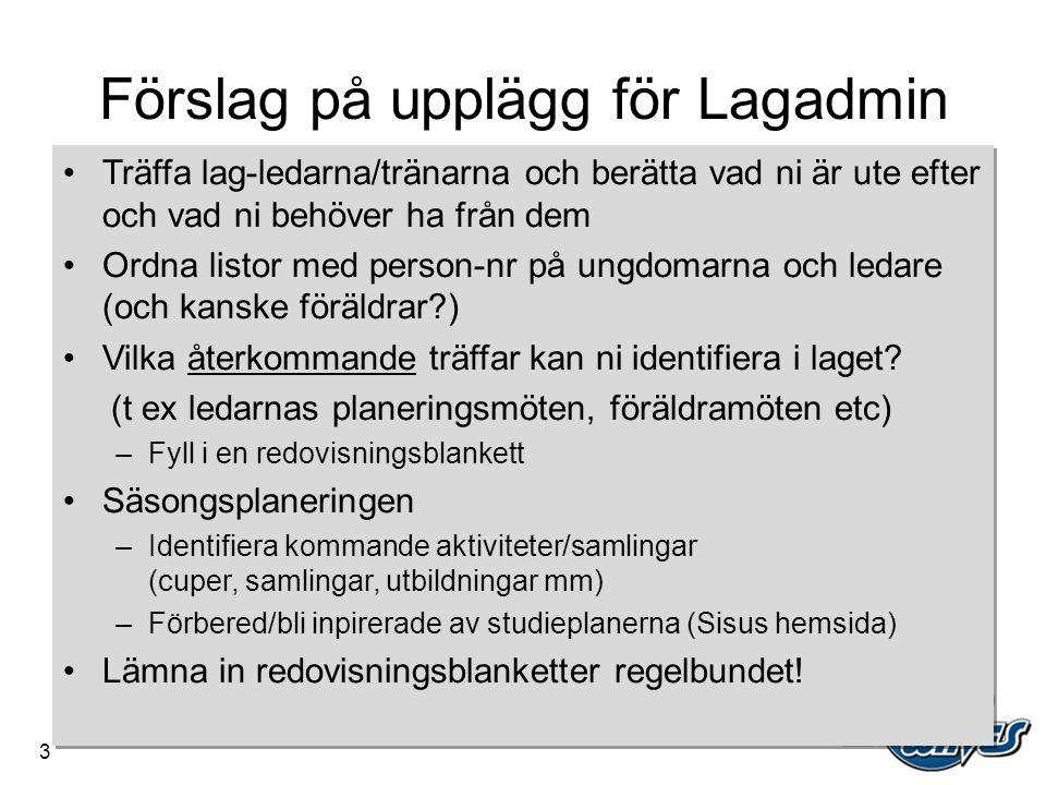Förslag på upplägg för Lagadmin