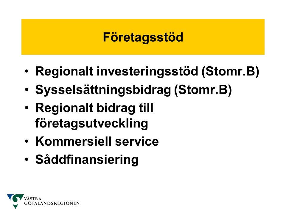 Företagsstöd Regionalt investeringsstöd (Stomr.B) Sysselsättningsbidrag (Stomr.B) Regionalt bidrag till företagsutveckling.