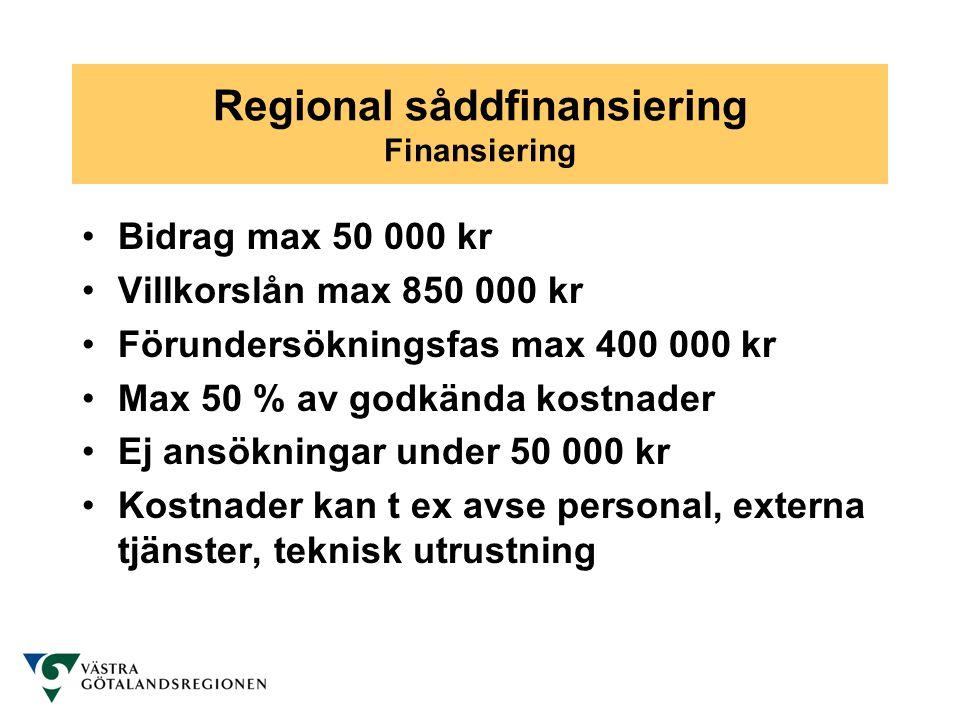 Regional såddfinansiering Finansiering