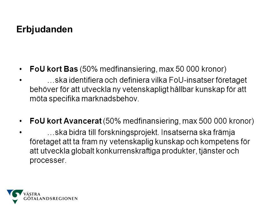 Erbjudanden FoU kort Bas (50% medfinansiering, max 50 000 kronor)