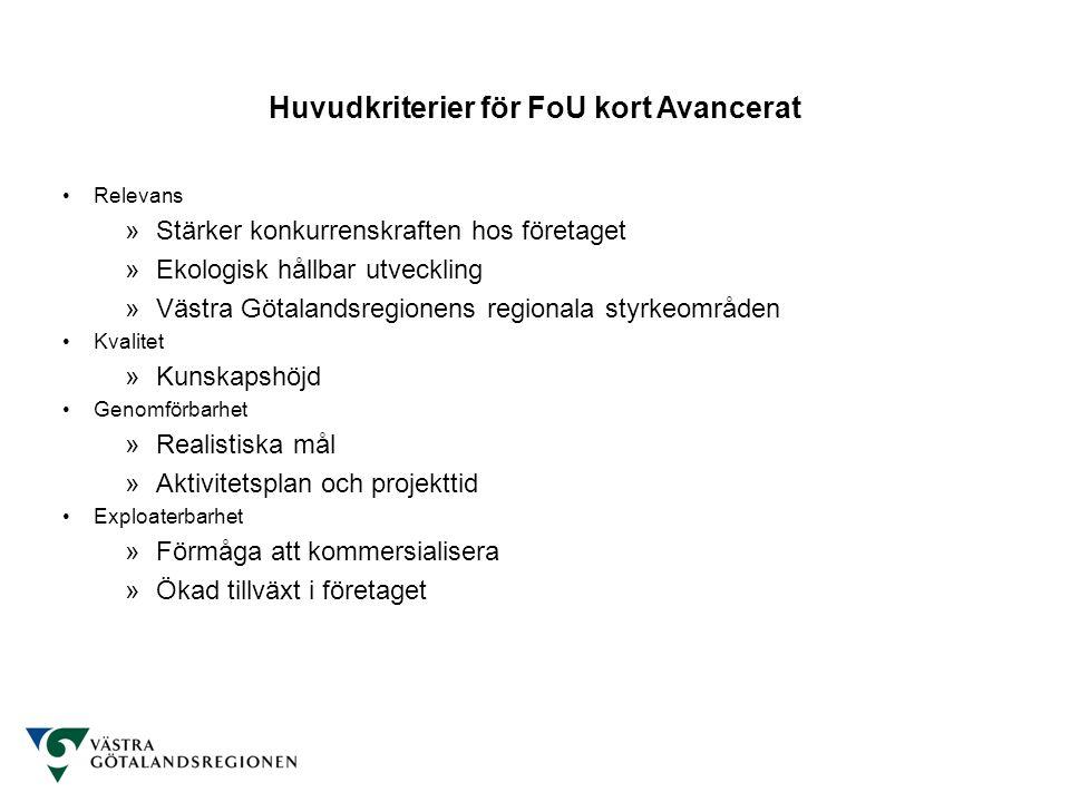 Huvudkriterier för FoU kort Avancerat