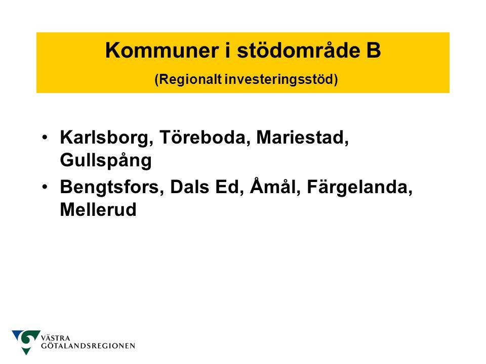 Kommuner i stödområde B (Regionalt investeringsstöd)