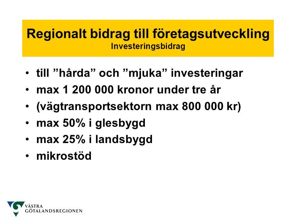 Regionalt bidrag till företagsutveckling Investeringsbidrag