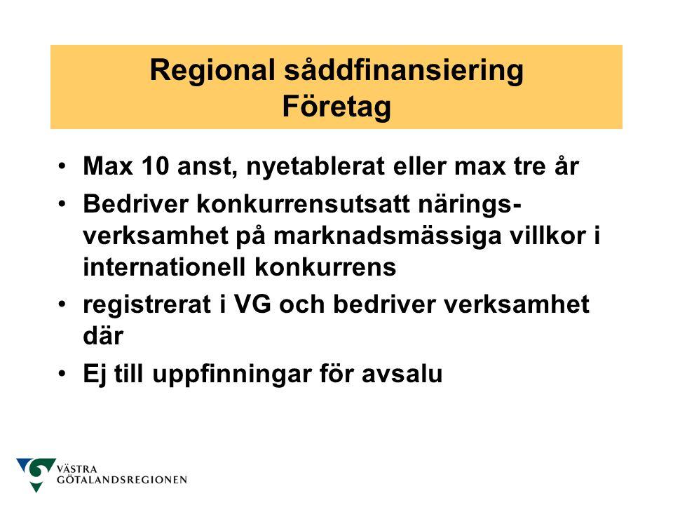 Regional såddfinansiering Företag