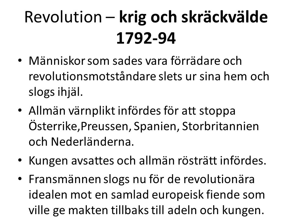 Revolution – krig och skräckvälde 1792-94