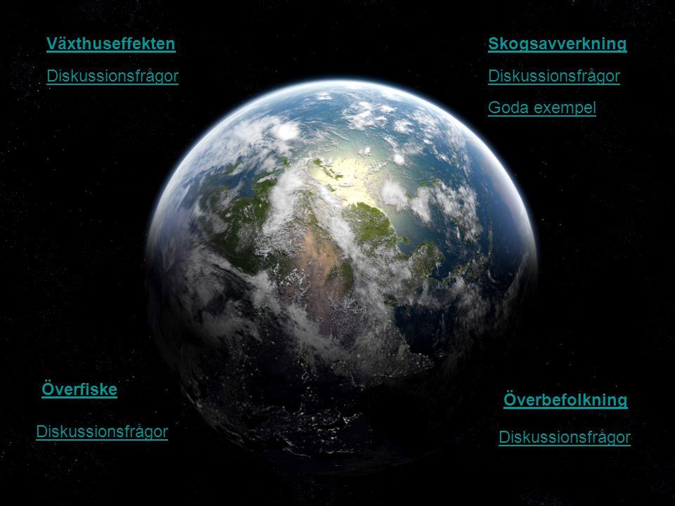 Växthuseffekten Skogsavverkning. Diskussionsfrågor. Diskussionsfrågor. Goda exempel. Överfiske.
