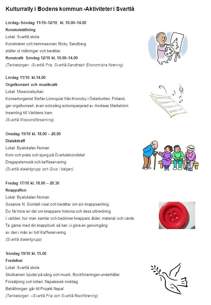 Kulturrally i Bodens kommun -Aktiviteter i Svartlå