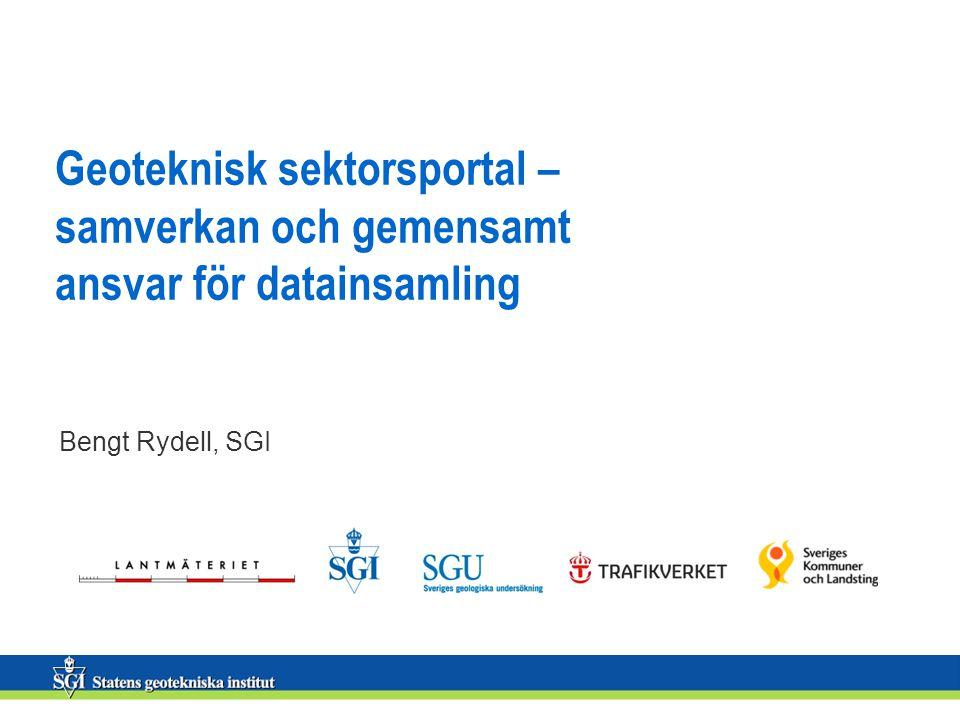 Geoteknisk sektorsportal – samverkan och gemensamt ansvar för datainsamling