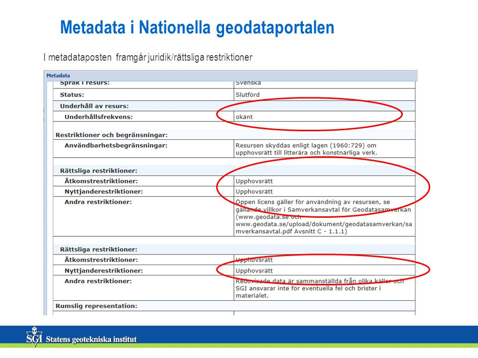 Metadata i Nationella geodataportalen