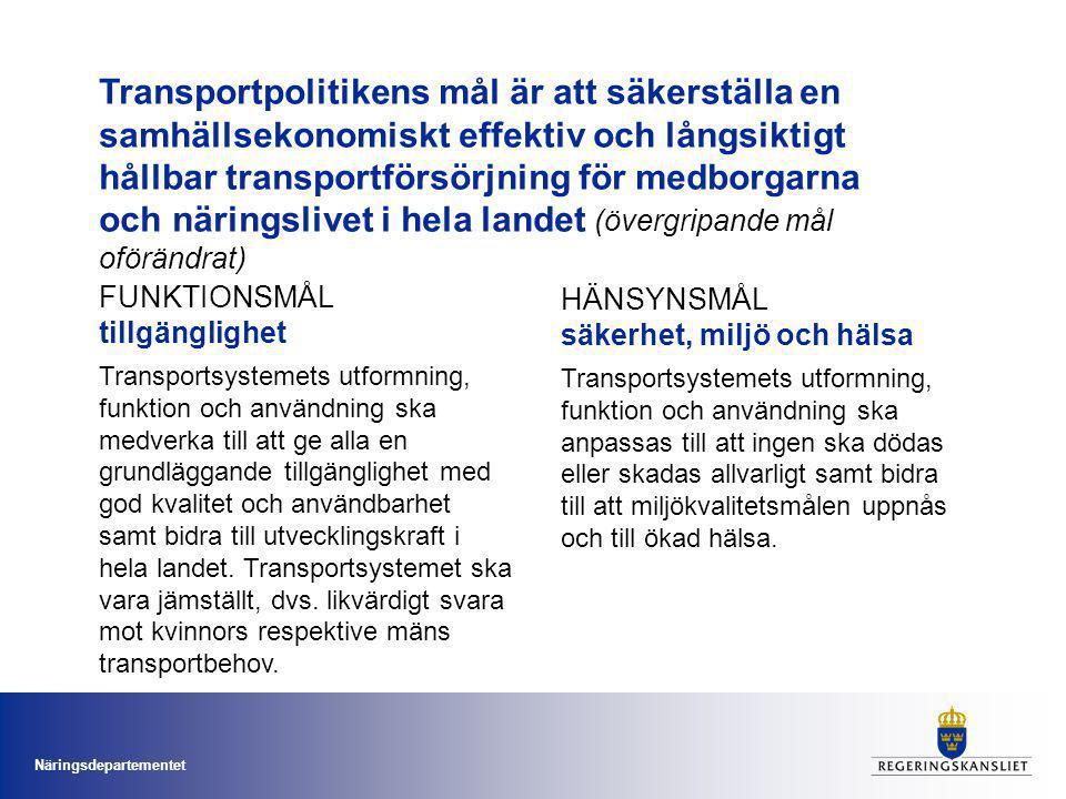 Transportpolitikens mål är att säkerställa en samhällsekonomiskt effektiv och långsiktigt hållbar transportförsörjning för medborgarna och näringslivet i hela landet (övergripande mål oförändrat)