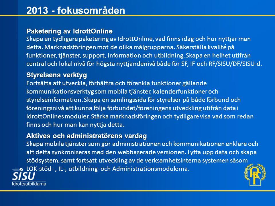 2013 - fokusområden Paketering av IdrottOnline