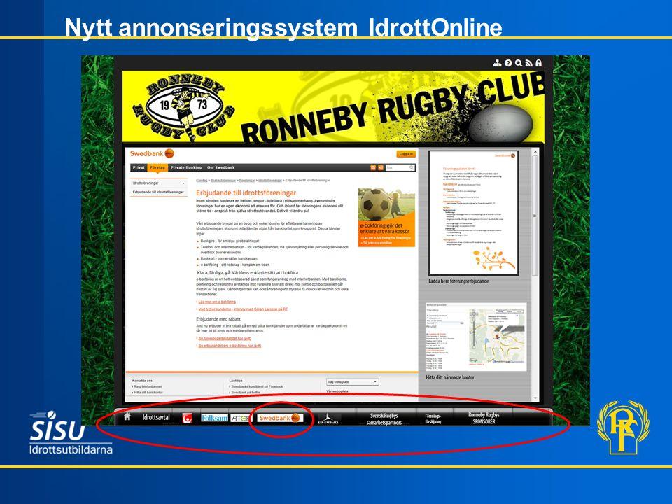 Nytt annonseringssystem IdrottOnline