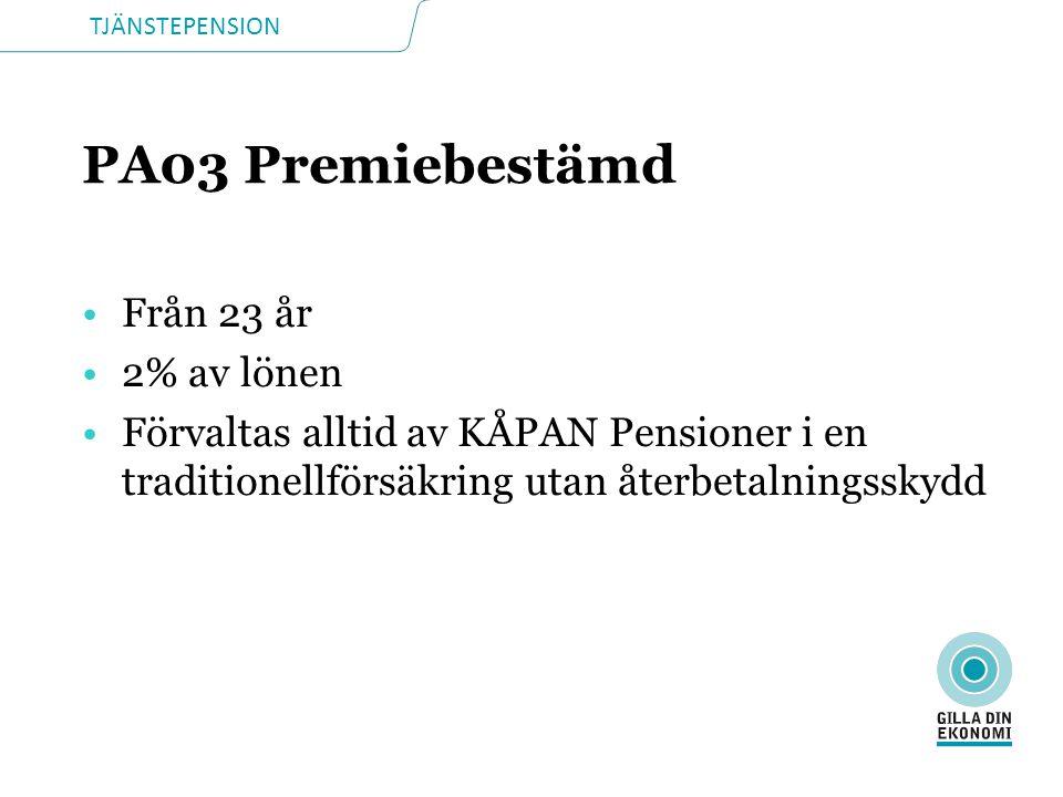 PA03 Premiebestämd Från 23 år 2% av lönen