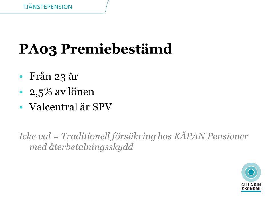 PA03 Premiebestämd Från 23 år 2,5% av lönen Valcentral är SPV