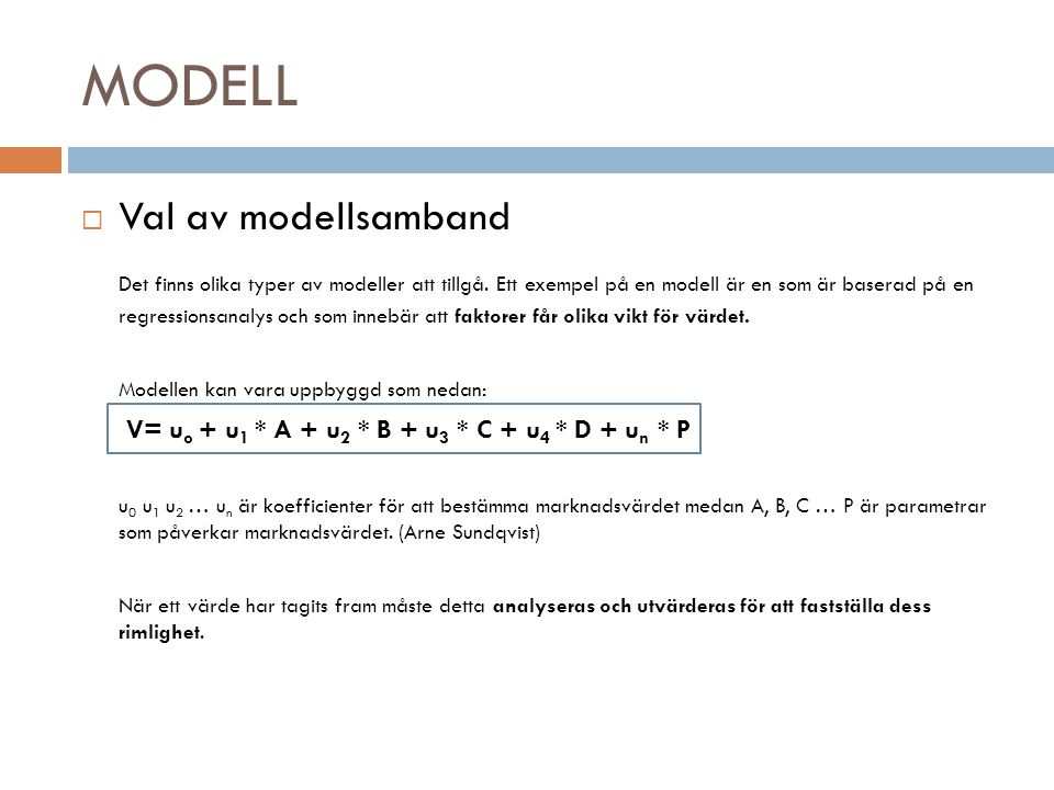 MODELL Val av modellsamband