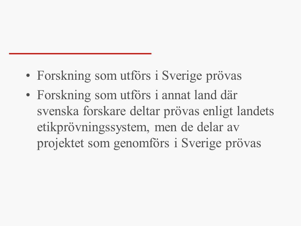 Forskning som utförs i Sverige prövas
