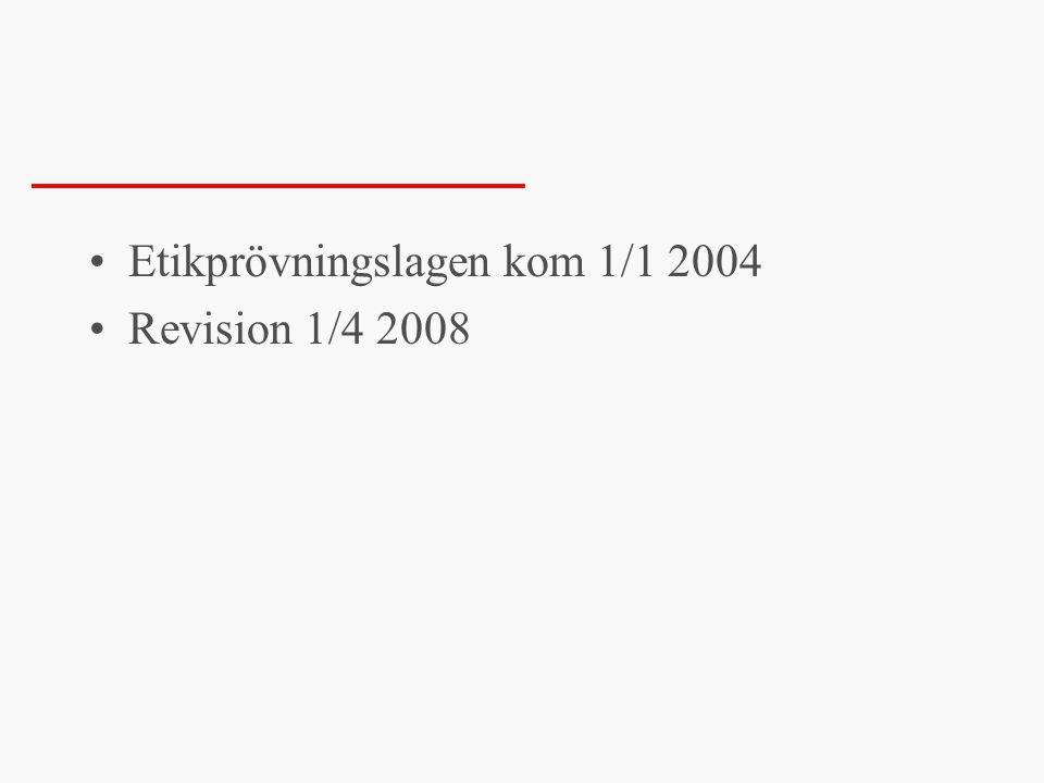 Etikprövningslagen kom 1/1 2004